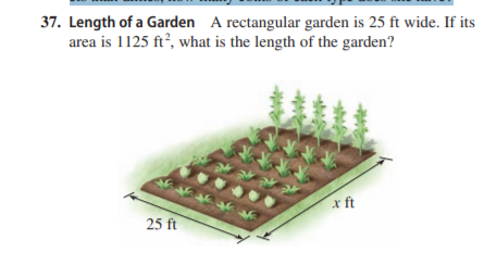 37. Length of a Garden A rectangular garden is 25 ft wide. If its area is 1125 ft, what is the length of the garden? x ft 25 ft