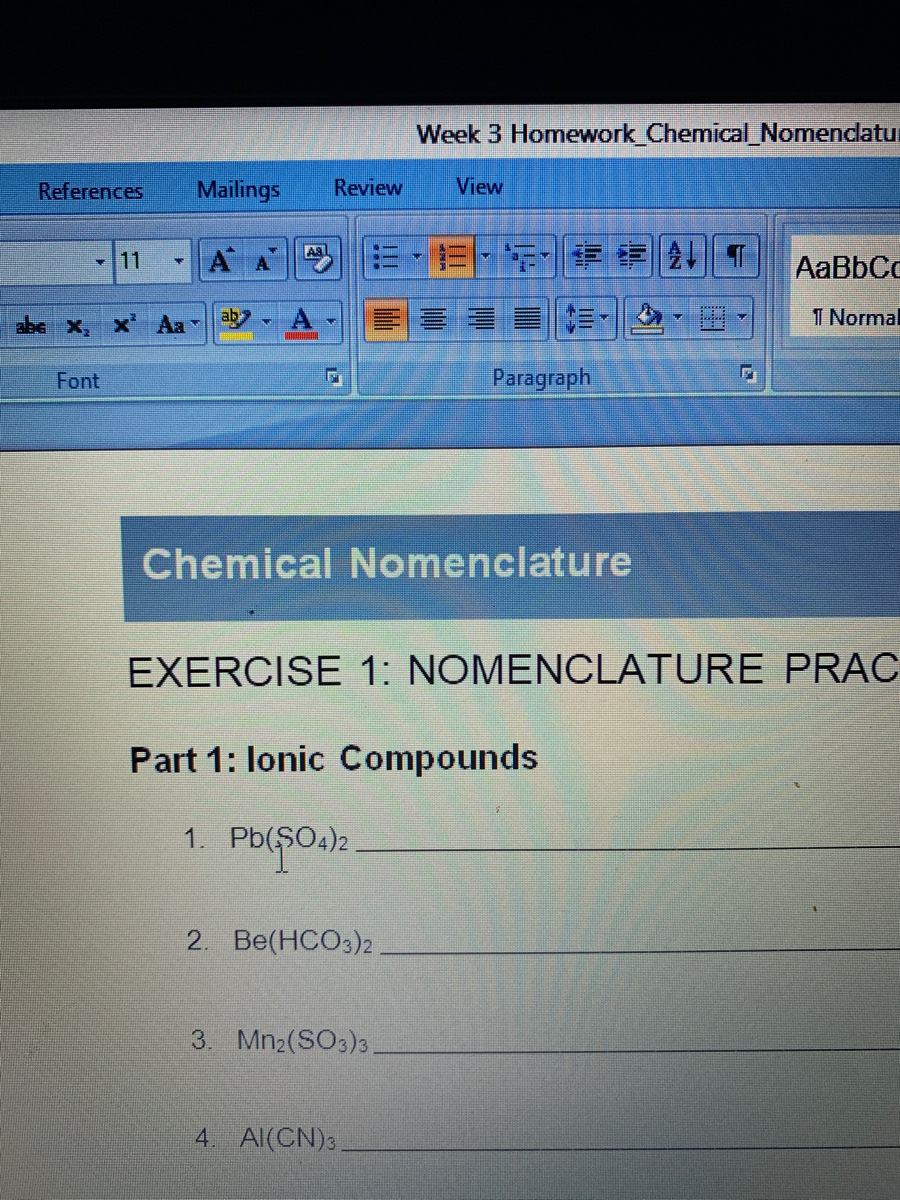 Answered: Chemical Nomenclature EXERCISE 1:… | bartleby
