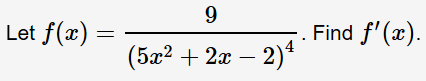 9 Let f(a) Find f'() (5a222)