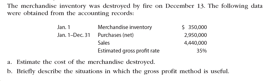 The merchandise inventory was destroyed by fire on December 13. The following data were obtained from the accounting records: Merchandise inventory $ 350,000 Jan. 1 Jan. 1-Dec. 31 Purchases (net) 2,950,000 Sales 4,440,000 Estimated gross profit rate 35% a. Estimate the cost of the merchandise destroyed. b. Briefly describe the situations in which the gross profit method is useful.