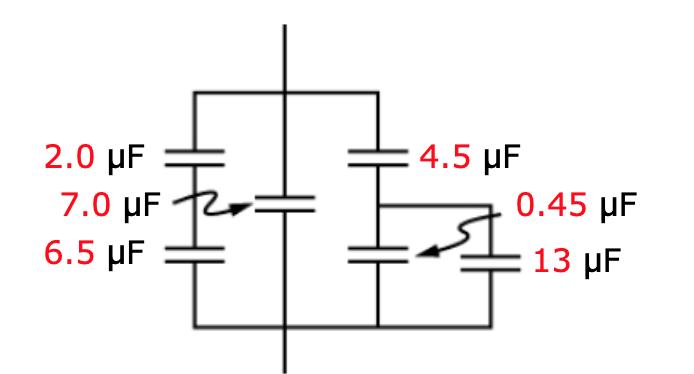 4.5 μF 2.0 µF 7.0 µF 6.5 µF 0.45 µF 13 μF