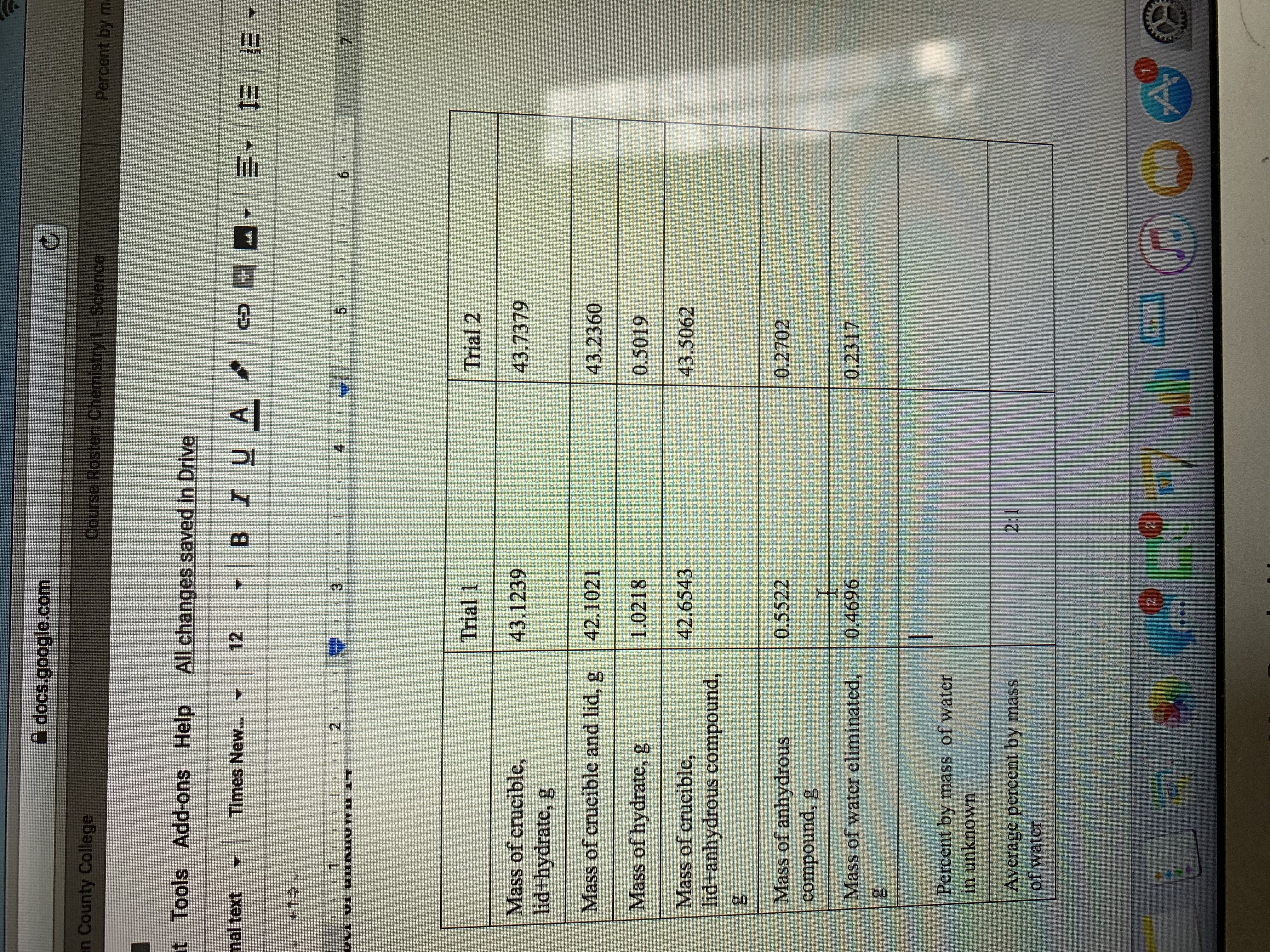 docs.google.com en County College Course Roster, Chemistry l Sclence Percent by ml t Tools Add-ons Help All changes saved in Drive 12 BIU A nal text Times New... +1 2 3 4 5 6 Trial 1 Trial 2 Mass of crucible, lid+hydrate, g 43.1239 43.7379 Mass of crucible and lid, g 42.1021 43.2360 Mass of hydrate, g 1.0218 0.5019 Mass of crucible, 42.6543 43.5062 lid anhydrous compound, Mass of anhydrous compound, g 0.5522 0.2702 Mass of water eliminated, 0.2317 0.4696 Percent by mass of water in unknown 2:1 Average percent by mass of water N