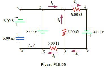 5.00 0 3.00 V 8.00 V 3.00 0 4.00 V 6.00 µF 5.00 N I= 0 Figure P18.55 bo