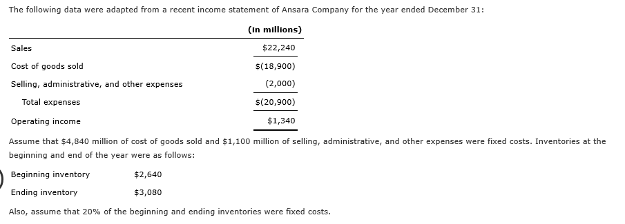 The following data were adapted from a recent income statement of Ansara Company for the year ended December 31: (in millions) $22,240 Sales $(18,900) (2,000) Cost of goods sold Selling, administrative, and other expenses $(20,900) Total expenses Operating income $1,340 Assume that $4,840 million of cost of goods sold and $1,100 million of selling, administrative, and other expenses were fixed costs. Inventories at the beginning and end of the year were as follows: Beginning inventory Ending inventory $2,640 $3,080 Also, assume that 20% of the beginning and ending inventories were fixed costs.