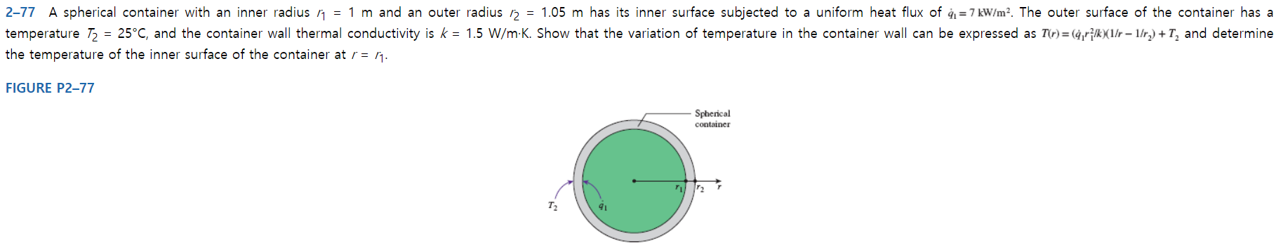 = 1.05 m has its inner surface subjected to a uniform heat flux of q1=7 kW/m2. The outer surface of the container has a 2-77 A spherical container with an inner radius n = 1 m and an outer radius 25°C, and the container wall thermal conductivity is k 1.5 W/m K. Show that the variation of temperature in the container wall can be expressed as T(r)= (4,r^k(1r 1/r.) + T2 and determine temperature T2 the temperature of the inner surface of the container at r = ^ FIGURE P2-77 Spherical container T2