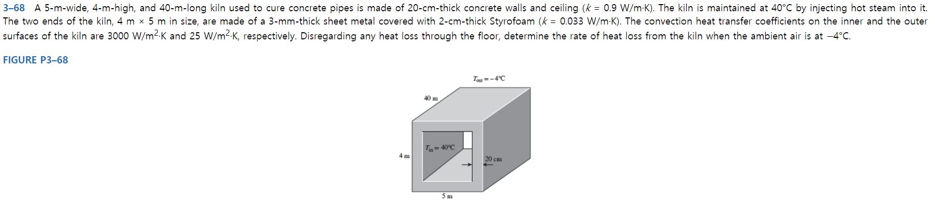 3-68 A 5-m-wide, 4-m-high, and 40-m-long kiln used to cure concrete pipes is made of 20-cm-thick concrete walls and ceiling (k = 0.9 W/m-K). The kiln is maintained at 40°C by injecting hot steam into it. The two ends of the kiln, 4 m x 5 m in size, are made of a 3-mm-thick sheet metal covered with 2-cm-thick Styrofoam (k = 0.033 W/m K). The convection heat transfer coefficients on the inner and the outer surfaces of the kiln are 3000 W/m2-K and 25 W/m2-K, respectively. Disregarding any heat loss through the floor, determine the rate of heat loss from the kiln when the ambient air is at -4°C. FIGURE P3-68 Tout-4°C 40 m Tin=40°C 4 m 20 cm 5 m