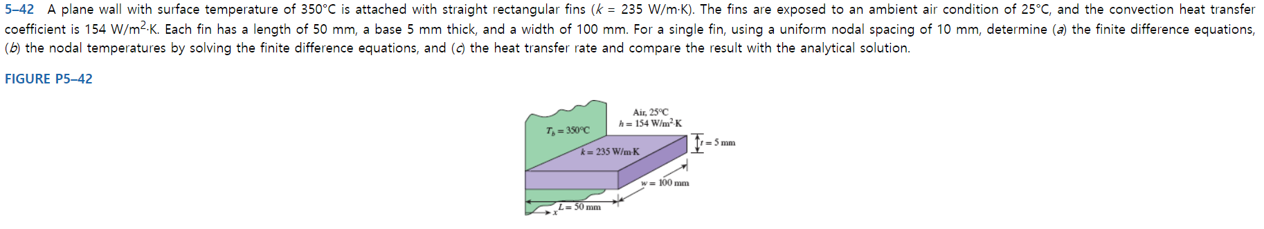 5-42 A plane wall with surface temperature of 350°C is attached with straight rectangular fins (k 235 W/m K). The fins are exposed to an ambient air condition of 25°C, and the convection heat transfer coefficient is 154 W/m2-K. Each fin has a length of 50 mm, a base 5 mm thick, and a width of 100 mm. For a single fin, using a uniform nodal spacing of 10 mm, determine (a) the finite difference equations, (b) the nodal temperatures by solving the finite difference equations, and (c) the heat transfer rate and compare the result with the analytical solution. FIGURE P5-42 Air, 25°C h= 154 W/m2K T,-350°C =5 mm k= 235 W/m K w= 100 mm L=50 mm