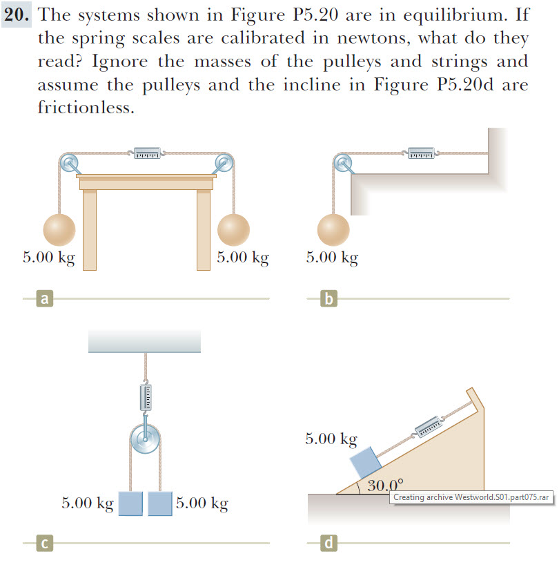 20. The systems shown in Figure P5.20 are in equilibrium. If the spring scales are calibrated in newtons, what do they read? Ignore the masses of the pulleys and strings and assume the pulleys and the incline in Figure P5.20d are frictionless. 5.00 kg 5.00 kg 5.00 kg b 5.00 kg 30.00 Creating archive Westworld.S01 .part075. rar 5.00 kg 5.00 kg с ra