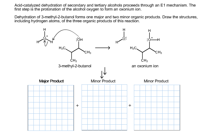 Acid-catalyzed dehydration of secondary and tertiary alcohols proceeds through an E1 mechanism. The first step is the protonation of the alcohol oxygen to form an oxonium ion. Dehydration of 3-methyl-2-butanol forms one major and two minor organic products. Draw the structures, including hydrogen atoms, of the three organic products of this reaction. н н :бн н Нас. Нас. CHз CH3 ČH3 CH3 3-methyl-2-butanol an oxonium ion Major Product Minor Product Minor Product