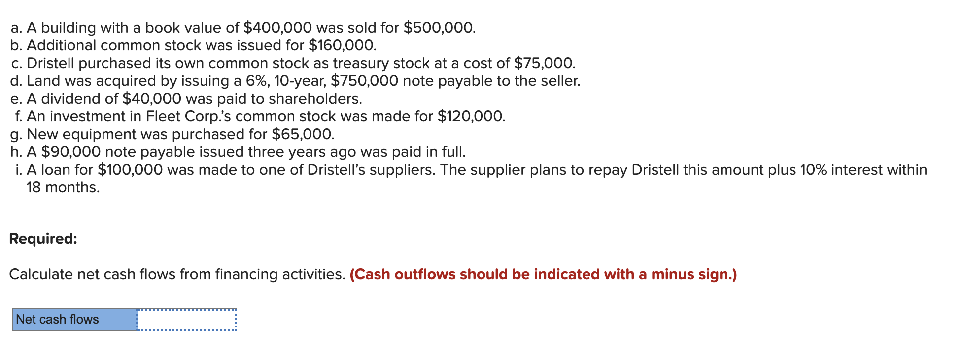a. A building with a book value of $400,000 was sold for $500,000 b. Additional common stock was issued for $160,000. c. Dristell purchased its own common stock as treasury stock at a cost of $75,000. d. Land was acquired by issuing a 6%, 10-year, $750,000 note payable to the seller. e. A dividend of $40,000 was paid to shareholders. f. An investment in Fleet Corp.'s common stock was made for $120,000. g. New equipment was purchased for $65,000. h. A $90,000 note payable issued three years ago was paid in full. i. A loan for $100,000 was made to one of Dristell's suppliers. The supplier plans to repay Dristell this amount plus 10% interest within 18 months. Required: Calculate net cash flows from financing activities. (Cash outflows should be indicated with a minus sign.) Net cash flows
