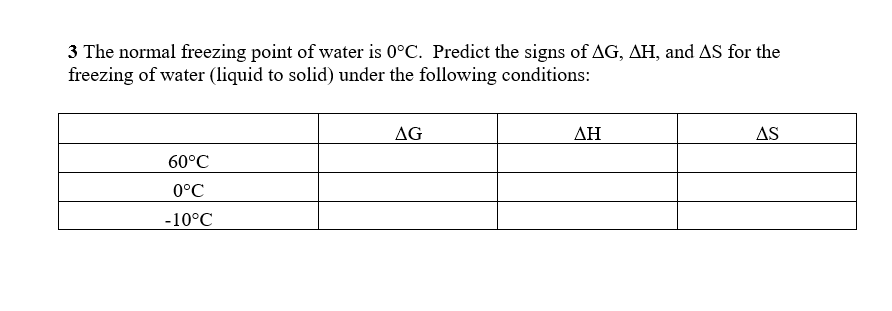 3 The normal freezing point of water is 0°C. Predict the signs of ΔG, AH, and AS for the freezing of water (liquid to solid) under the following conditions: AG AH AS 60°C 0°C 10°C