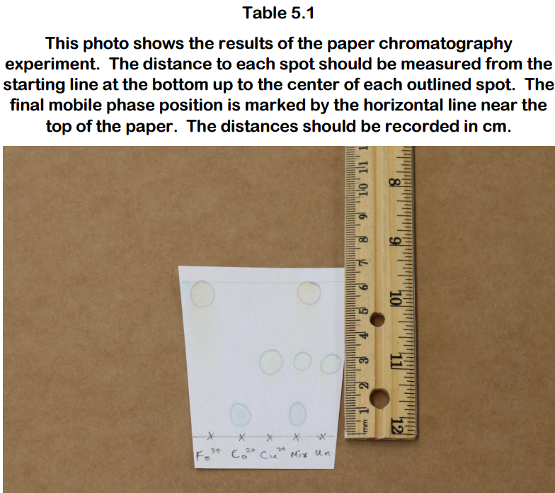 This photo shows the results of the paper chromatography 3 starting line at the bottom up to the center of each outlined spot. The final mobile phase position is marked by the horizontal line near the top of the paper. The distances should be recorded in cm.