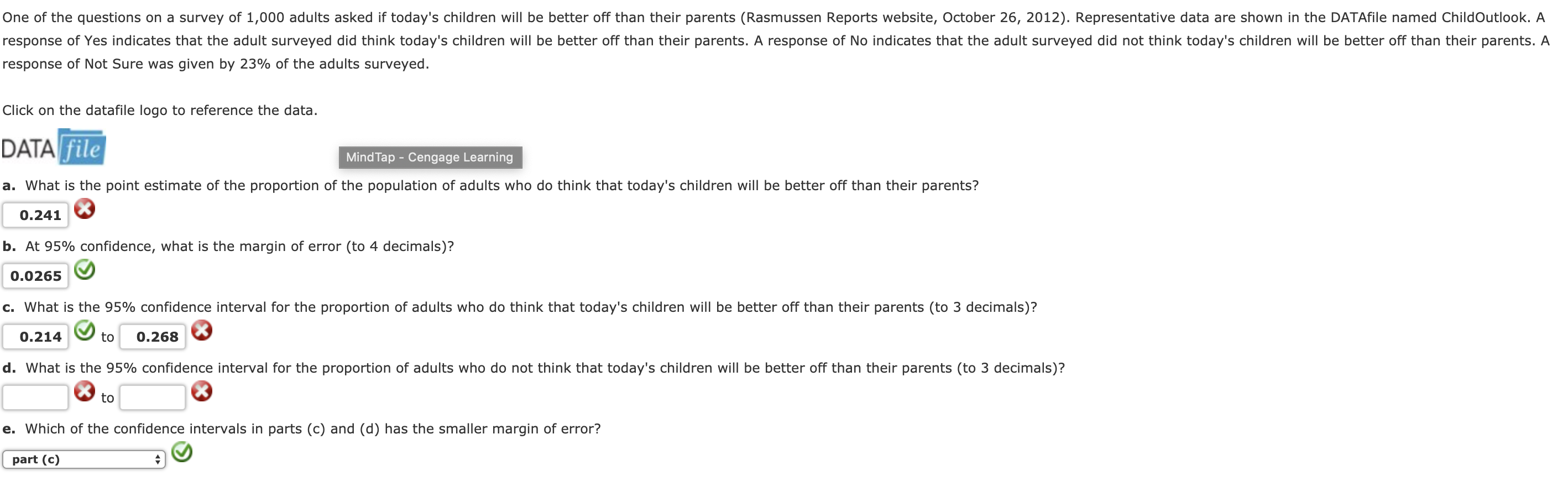 One of the questions on a survey of 1,000 adults asked if today's children will be better off than their parents (Rasmussen Reports website, October 26, 2012). Representative data are shown in the DATAfile named ChildOutlook. A response of Yes indicates that the adult surveyed did think today's children will be better off than their parents. A response of No indicates that the adult surveyed did not think today's children will be better off than their parents. A response of Not sure was given by 23% of the adults surveyed. Click on the datafile logo to reference the data DATA file MindTap - Cengage Learning a. What is the point estimate of the proportion of the population of adults who do think that today's children will be better off than their parents? 0.241 b. At 95% confidence, what is the margin of error (to 4 decimals)? 0.0265 c what is the 95% confidence interval for the proportion of adults who do think that today's children will be better off than their parents to 3 decimals ? 0.214to 0.268 d, what is the 95% confidence interval for the proportion of adults who do not think that today's children will be better off than their parents(to 3 decimals)? to e. Which of the confidence intervals in parts (c) and (d) has the smaller margin of error? part (c)