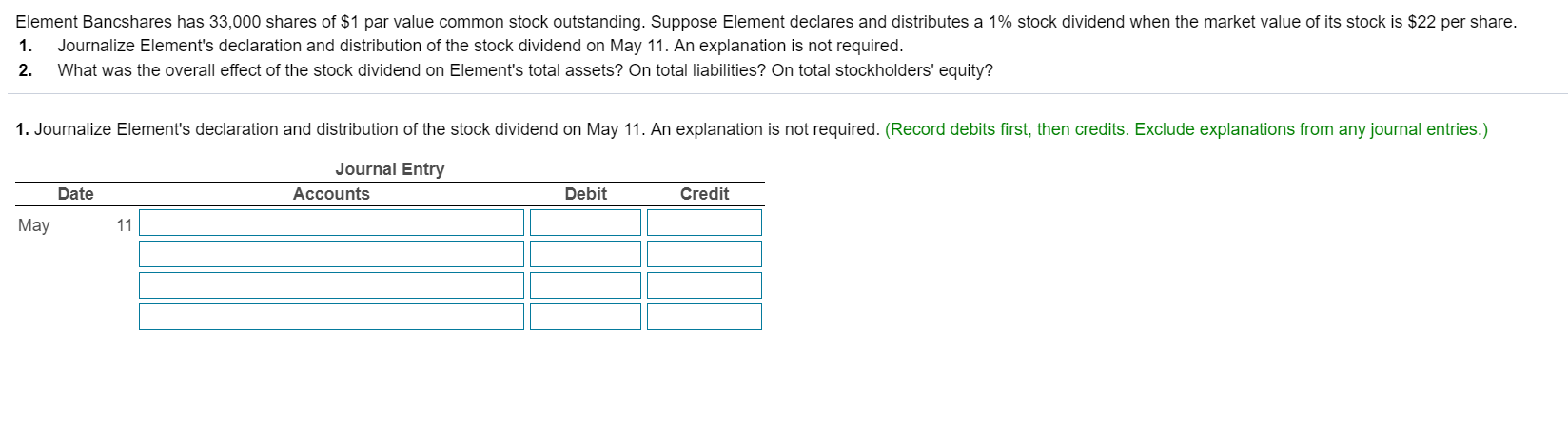 Element Bancshares has 33,000 shares of $1 par value common stock outstanding. Suppose Element declares and distributes a 1% stock dividend when the market value of its stock is $22 per share. 1. Journalize Element's declaration and distribution of the stock dividend on May 11. An explanation is not required. 2. What was the overall effect of the stock dividend on Element's total assets? On total liabilities? On total stockholders' equity? 1. Journalize Element's declaration and distribution of the stock dividend on May 11. An explanation is not required. (Record debits first, then credits. Exclude explanations from any journal entries.) Journal Entry Date Accounts Debit Credit May 11