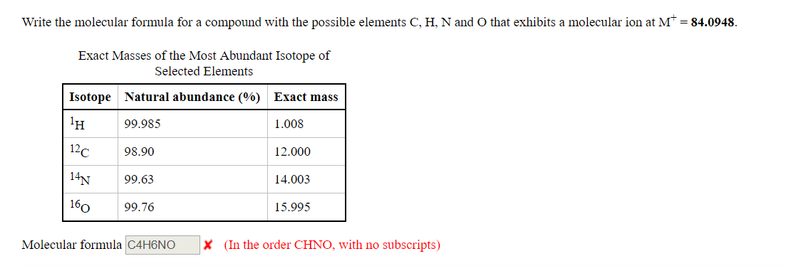 write the molecular formula for a compound with the possible elements C, H, N and O that exhibits a molecular ion at Mr-84.0948. Exact Masses of the Most Abundant Isotope of Selected Elements Isotope Natural abundance (%) H 99.985 1c98.90 14N99.63 Exact mass 1.008 12.000 14.003 15.995 99./6 Molecular formula C4H6NO X (In the order CHNO, with no subscripts)