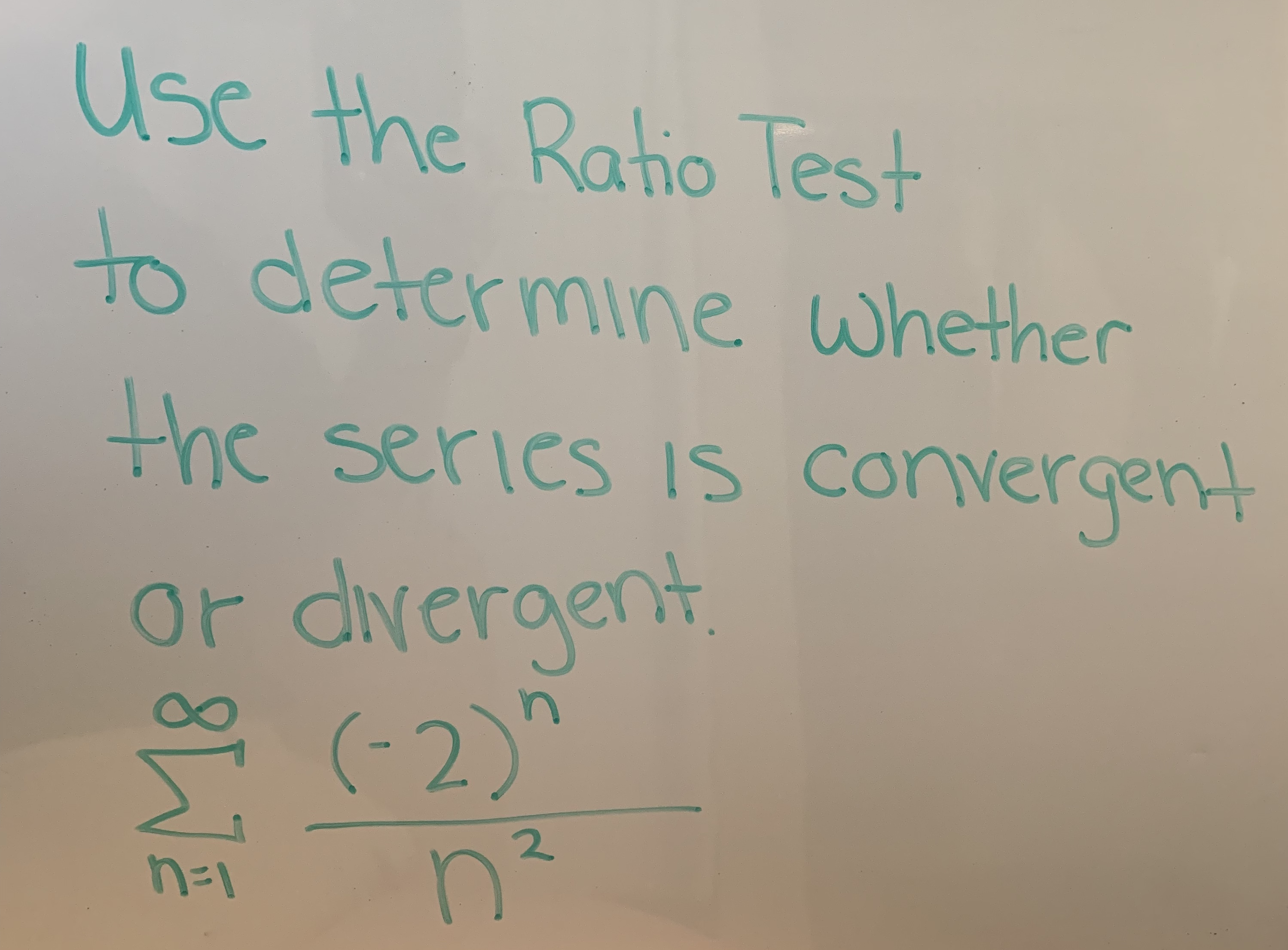 Use the Raho Test to determine whethen the serics is convergen Or dveraent 2.