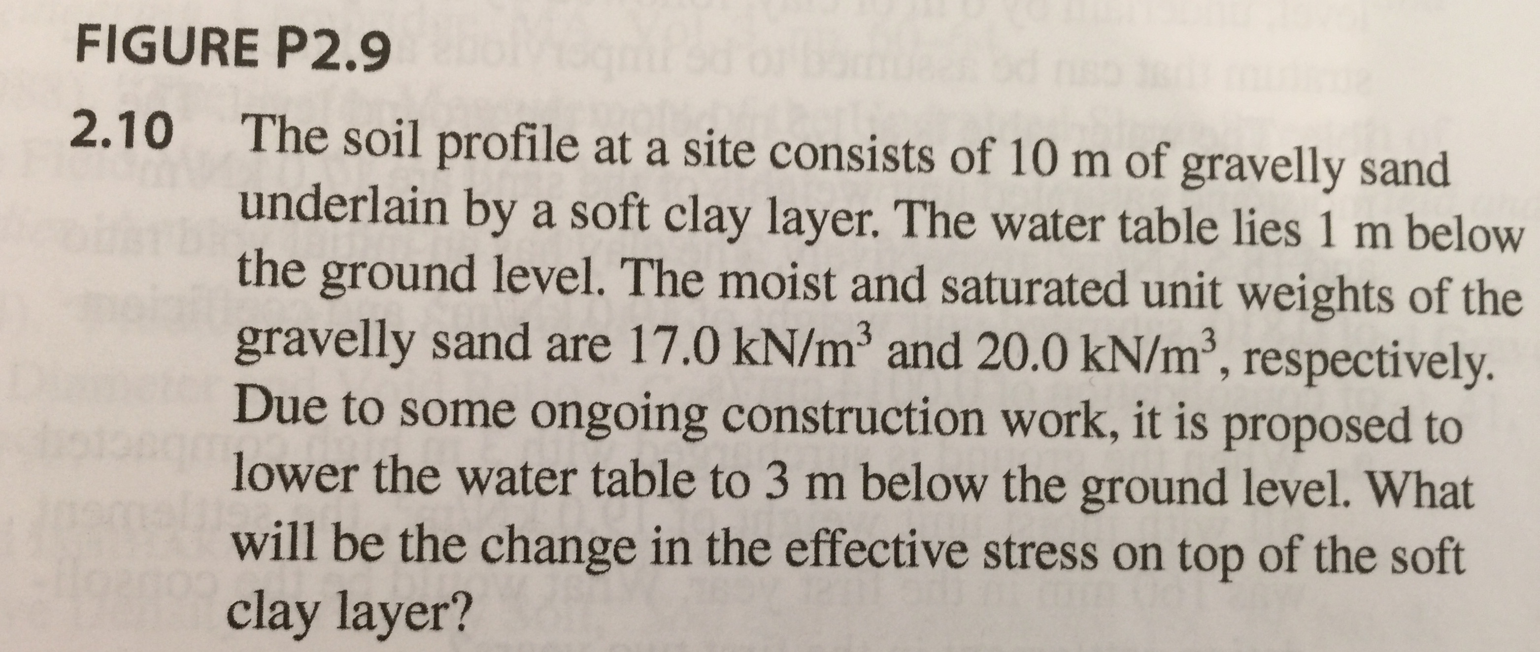 FIGURE P2.9 The soil profile at a site consists of 10 m of gravelly sand underlain by a soft clay layer. The water table lies 1 m below the ground level. The moist and saturated unit weights of the gravelly sand are 17.0 kN/m3 and 20.0 kN/m3, respectively. Due to some ongoing construction work, it is proposed to lower the water table to 3 m below the ground level. What will be the change in the effective stress on top of the soft clay layer? 2.10