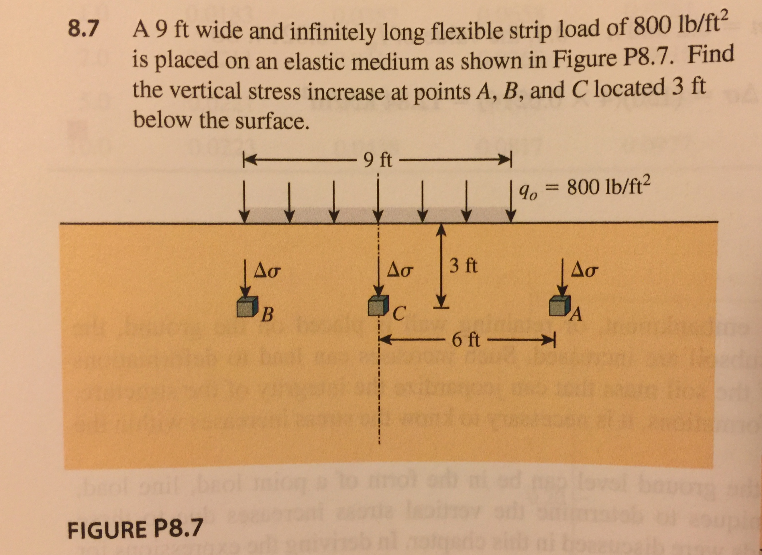 8.7 A9 ft wide and infinitely long flexible strip load of 800 lb/ft is placed on an elastic medium as shown in Figure P8.7. Find the vertical stress increase at points A, B, and C located 3 ft below the surface. o 800 lb/ft2 6 ft FIGURE P8.7