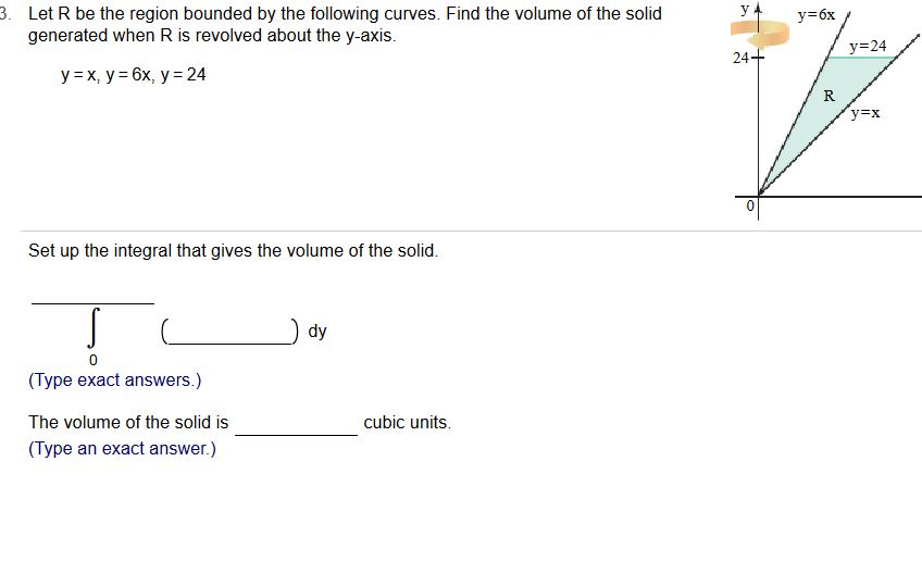 . Let R be the region bounded by the following curves. Find the volume of the solid у-бх generated when R is revolved about the y-axis. 24 R. 0 Set up the integral that gives the volume of the solid. dy (Type exact answers.) The volume of the solid is (Type an exact answer.) cubic units.