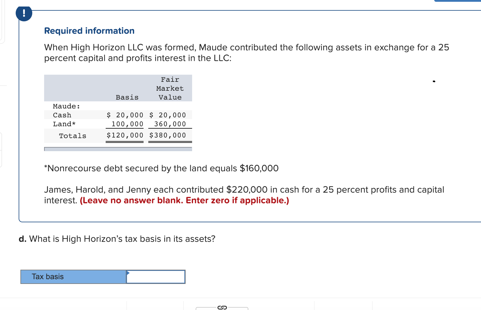 Required information When High Horizon LLC was formed, Maude contributed the following assets in exchange for a 25 percent capital and profits interest in the LLC: Fair Market Value Basis Maude: Cash Land* $ 20,000 20,000 100,000 360,000 Totals $120,000 $380,000 Nonrecourse debt secured by the land equals $160,000 James, Harold, and Jenny each contributed $220,000 in cash for a 25 percent profits and capital interest. (Leave no answer blank. Enter zero if applicable.) d. What is High Horizon's tax basis in its assets? Tax basis