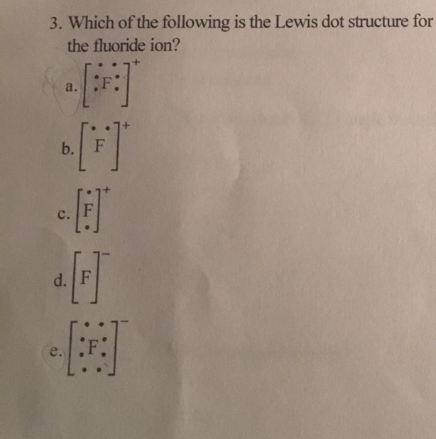3. Which of the following is the Lewis dot structure for the fluoride ion? a. b. c.