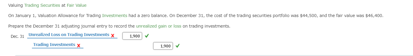 Valuing Trading Securities at Fair Value On January 1, Valuation Allowance for Trading Investments had a zero balance. On December 31, the cost of the trading securities portfolio was $44,500, and the fair value was $46,400 Prepare the December 31 adjusting journal entry to record the unrealized gain or loss on trading investments Unrealized Loss on Trading Investments x Dec. 31 1,900 V Trading Investments x 1,900 V