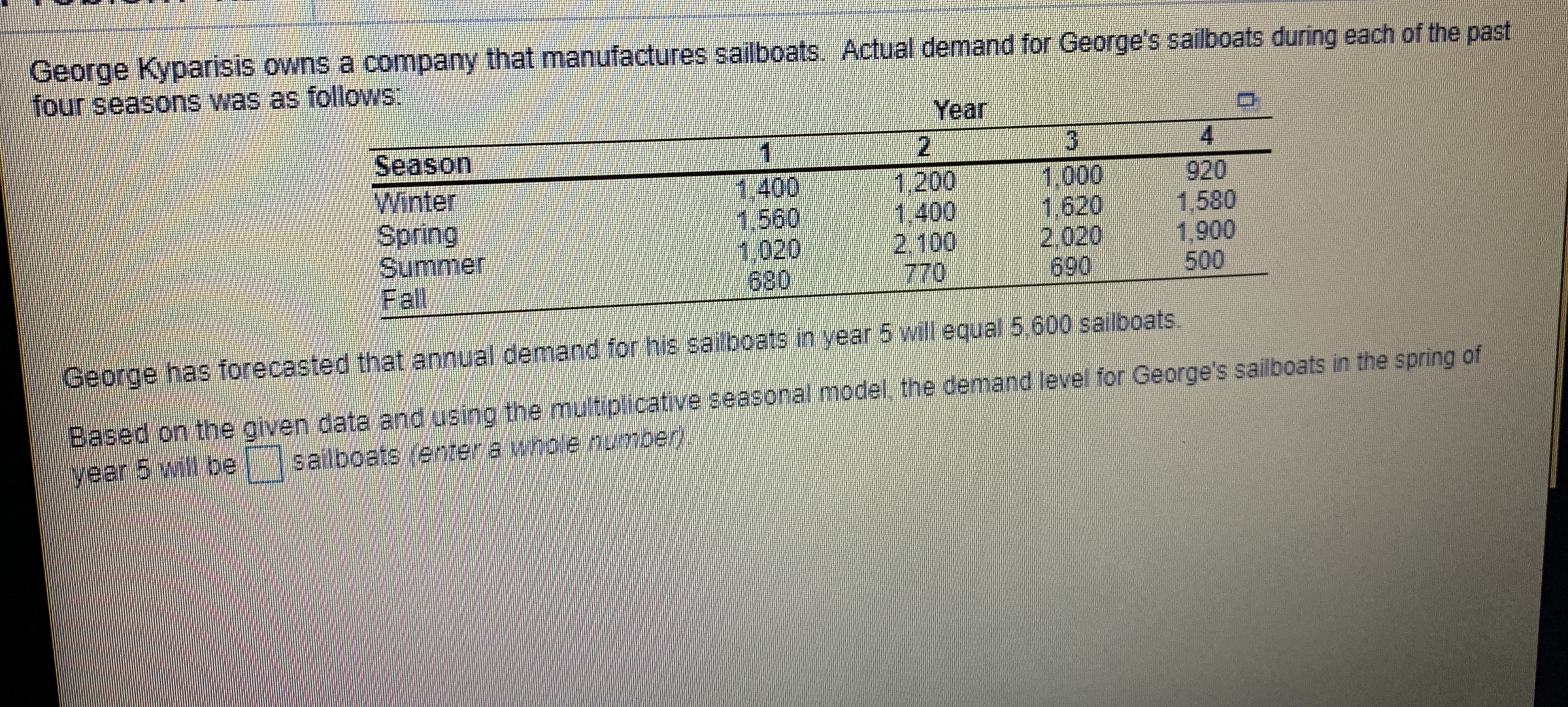 George Kyparisis owns a company that manufactures sailboats. Actual demand for George's sailboats during each of the past four seasons was as follows: Year Season Winter Spring Summer Fall 1,000 1,400 1.560 1,020 680 1,200 1.400 920 1,6201,580 2.1002,020 1,900 770690500 George has forecasted that annual demand for his sailboats in year 5 will equal 5,600 sailboats. Based on the given data and using the multiplicative seasonal model, the demand level for George's saliboats in the spring of year 5 will besailboats (enter a whole number)