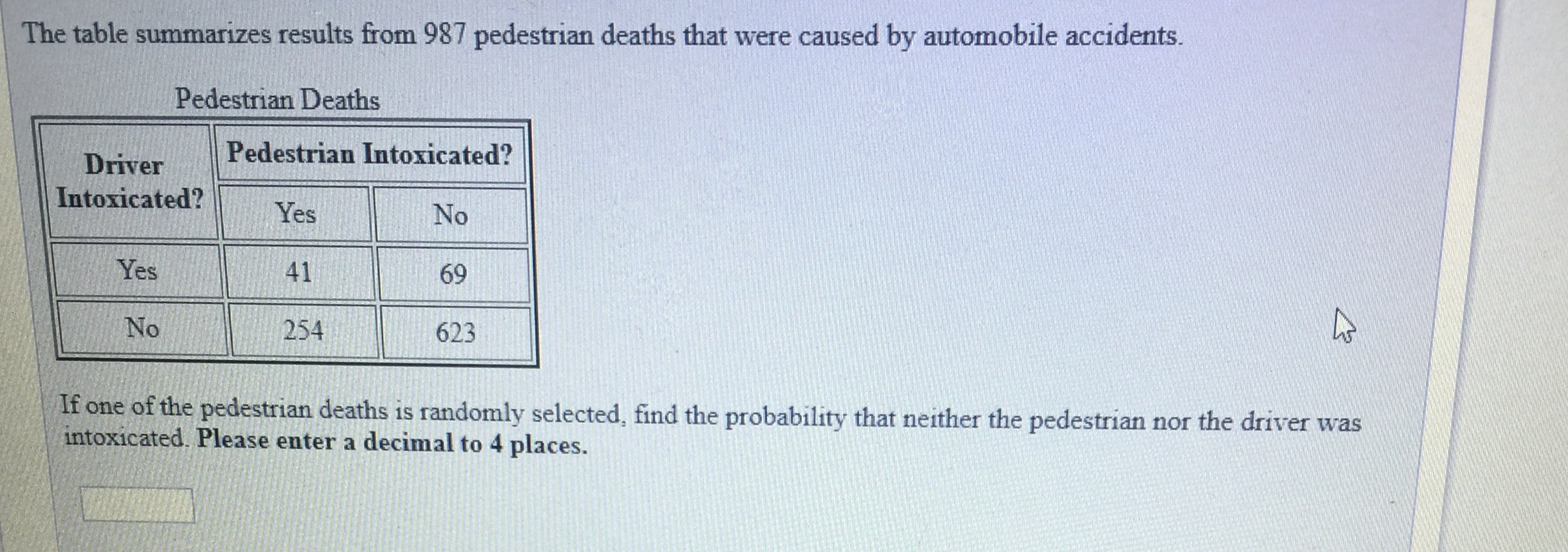 The table summarizes results from 987 pedestrian deaths that were caused by automobile accidents. Pedestrian Deaths Pedestrian Intoxicated? Driver Intoxicated?YesNo Yes 41 69 No 254 623 If one of the pedestrian deaths is randomly selected, find the probability that neither the pedestrian nor the driver was intoxicated. Please enter a decimal to 4 places