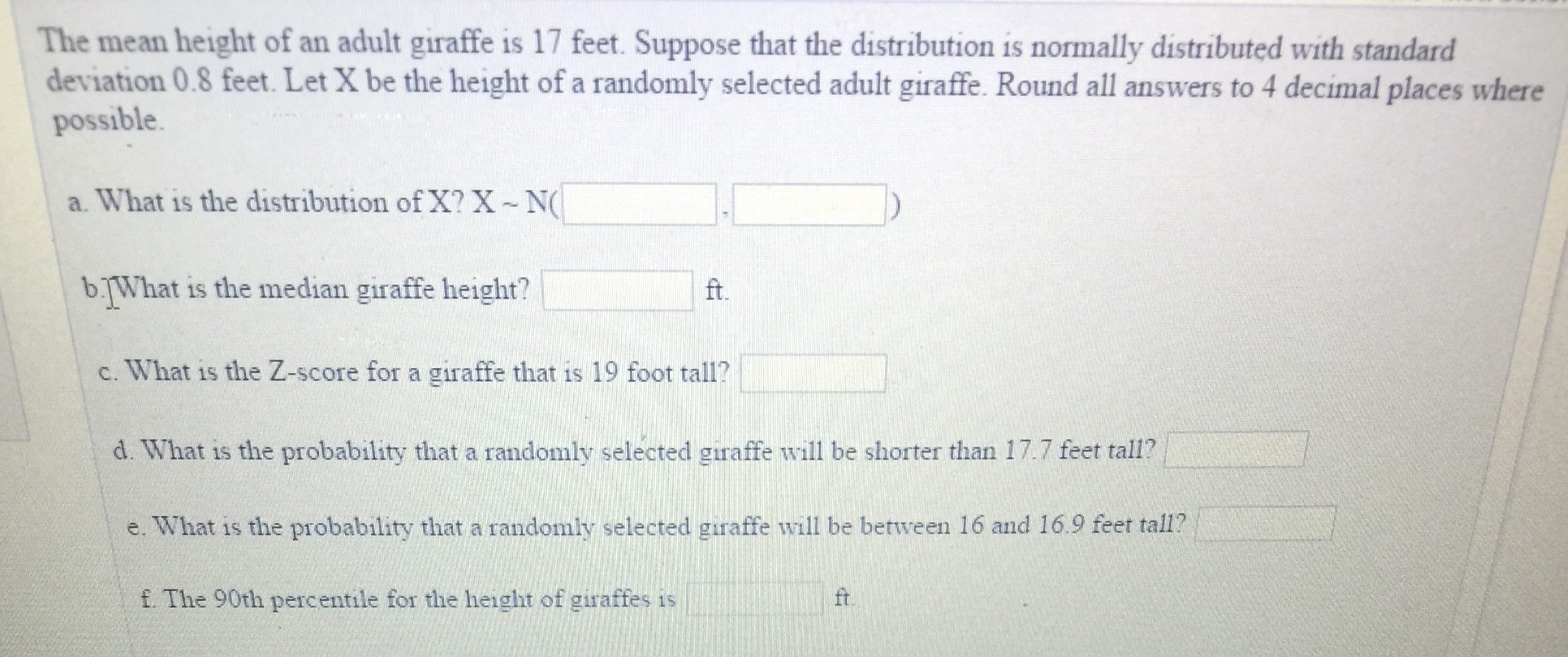 Answered: The mean height of an adult giraffe is… | bartleby