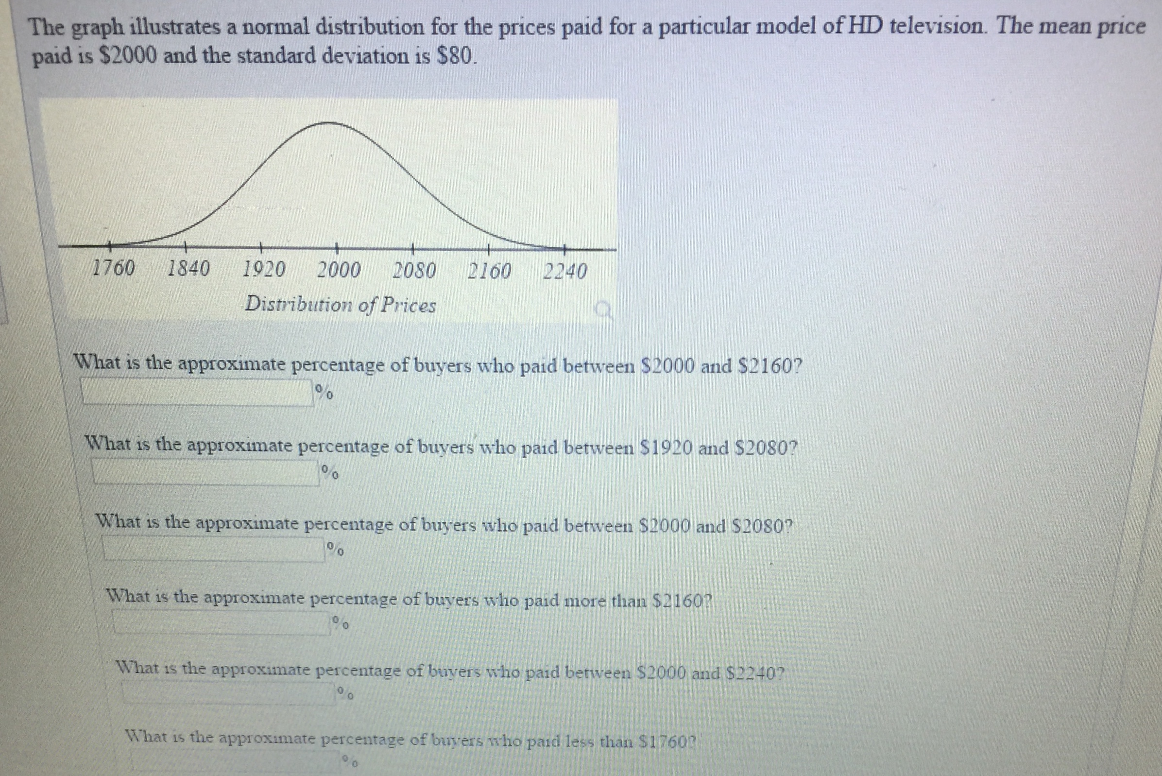 The graph illustrates a normal distribution for the prices paid for a particular model of HD television. The mean price paid is $2000 and the standard deviation is $80 1760 1840 1920 2000 2080 2160 2240 Distribution of Prices What is the approximate percentage of buyers who paid between $2000 and S2160? 9% What is the approximate percentage of buyers who paid between $1920 and $2080? 0 0 What is the approximate percentage of buyers who paid between $2000 and S2080? 0 0 What is the approximate percentage of buyers who paid more than $2160 0 What is the approximate percentage of buyers who paid berween $2000 and $2240? 0 What is the approximate percentage of buyers m ho paid less than $1760?