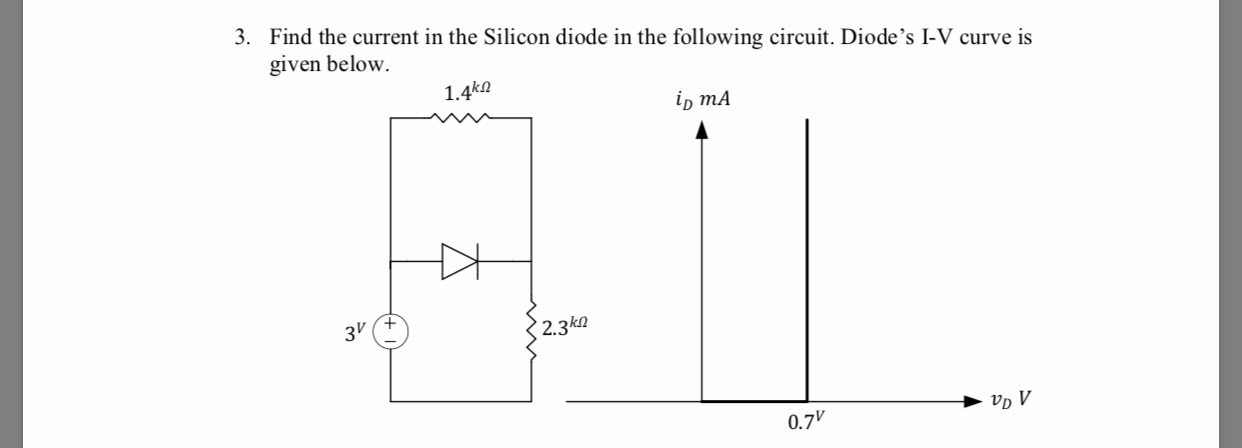 3. Find the current in the Silicon diode in the following circuit. Diode's I-V curve is given below. 1.4k2 1D mA 3V 2.3k2 0.7