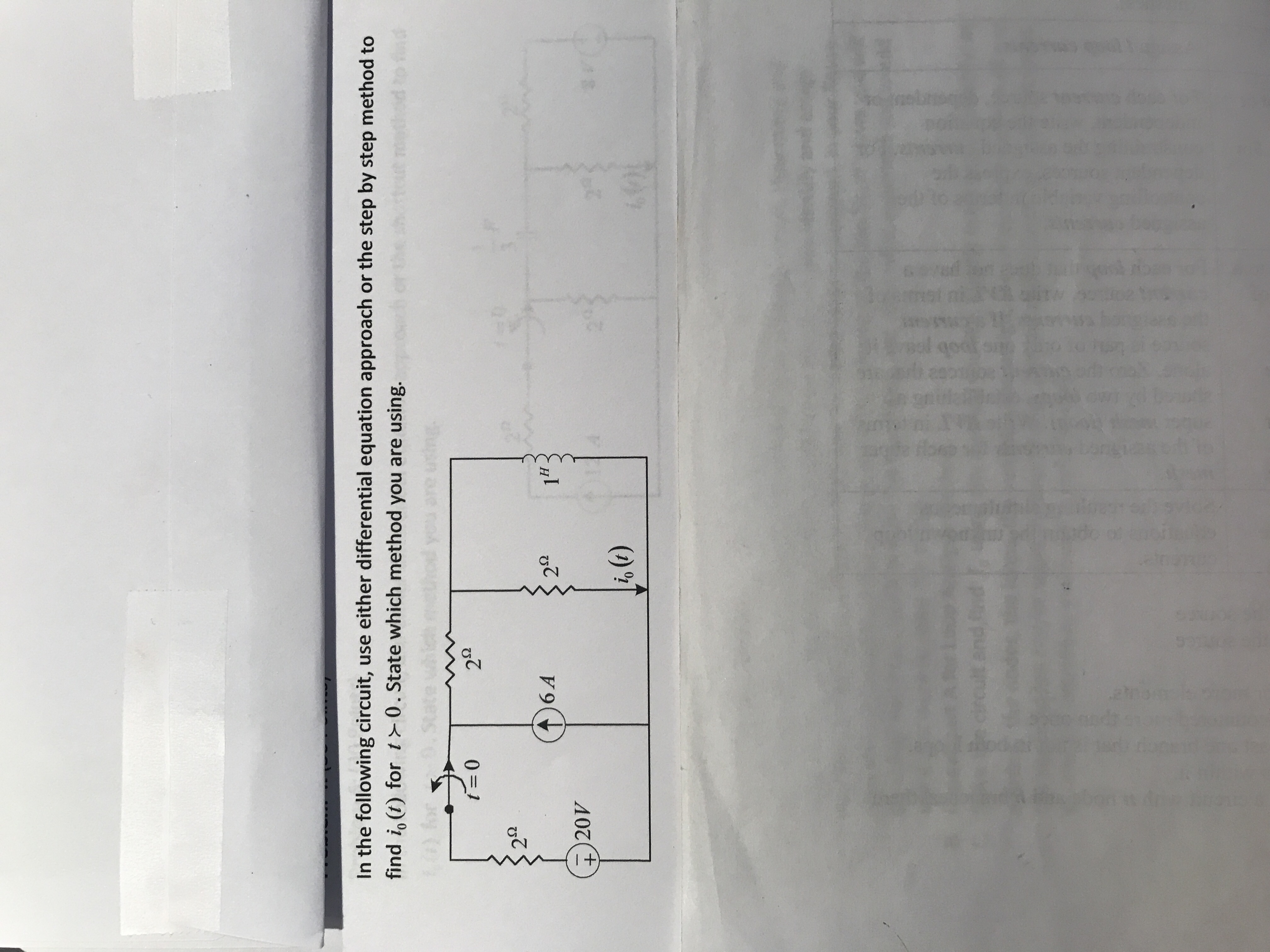 In the following circuit, use either differential equation approach or the step by step method to find io (t) for t0. State which method you are using. 6 A + 20V