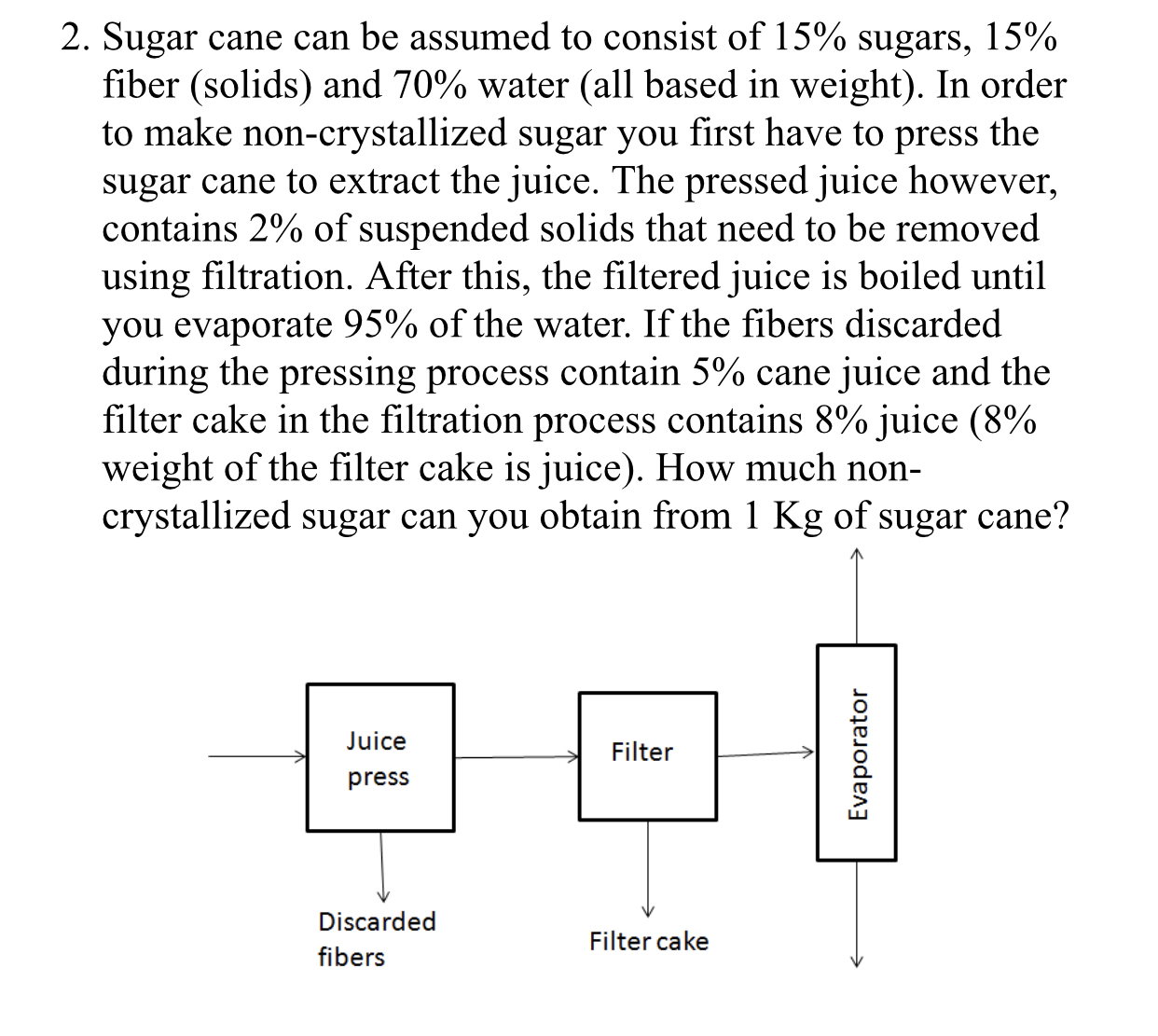 2. Sugar cane can be assumed to consist of 15% sugars, 15% fiber (Solids) and 70% water (all based in weight). In order to make non-crystallized sugar you first have to press the sugar cane to extract the juice. The pressed juice however contains 2% of suspended solids that need to be removed using filtration. After this, the filtered juice is boiled until you evaporate 95% of the water. If the fibers discarded during the pressing process contain 5% cane juice and the filter cake in the filtration process contains 8% juice(8% weight of the filter cake is juice). How much non- crystallized sugar can you obtain from 1 Kg of sugar cane? uice press Filter Discarded fibers Filter cake