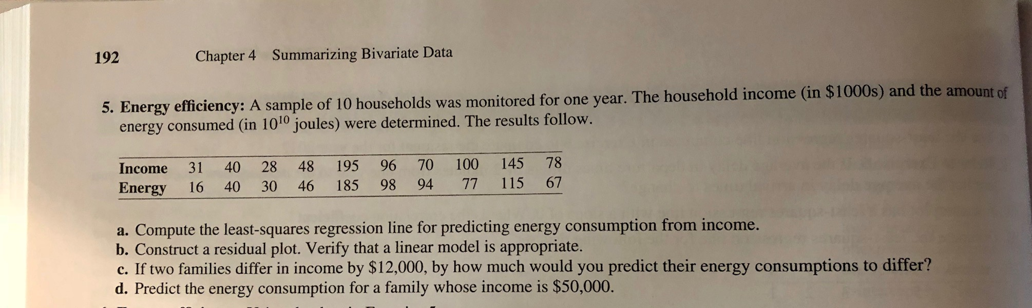 192 Chapter 4 Summarizing Bivariate Data 5. Energy effici ency: A sample of 10 households was monitored for one year. The household income (in $1000s) and the amount of energy consumed (in 1010 joules) were determined. The results follow. Income 31 40 28 48 195 96 70 100 145 78 Energy 16 40 30 46 185 98 94 77 115 67 a. Compute the least-squares regression line for predicting energy consumption from income. b. Construct a residual plot. Verify that a linear model is appropriate. c. If two families differ in income by $12,000, by how much would you predict their energy consumptions to differ? d. Predict the energy consumption for a family whose income is $50,000.