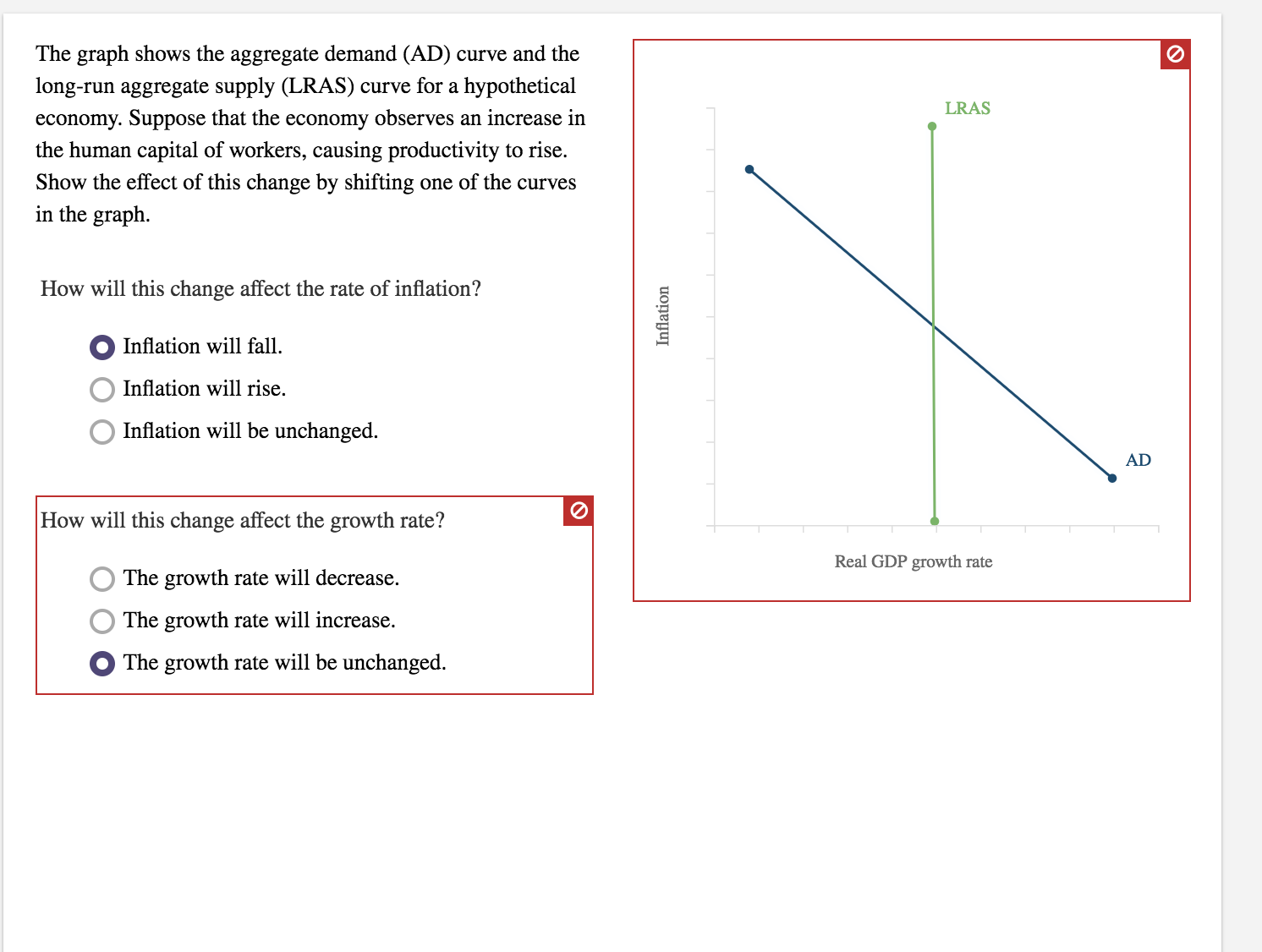 The graph shows the aggregate demand (AD) curve and the long-run aggregate supply (LRAS) curve for a hypothetical economy. Suppose that the economy observes an increase in the human capital of workers, causing productivity to rise. Show the effect of this change by shifting one of the curves in the graph. LRAS How will this change affect the rate of inflation? Inflation will fall Inflation will rise, Inflation will be unchanged. AD How will this change affect the growth rate? Real GDP growth rate The growth rate will decrease. The growth rate will increase. The growth rate will be unchanged.