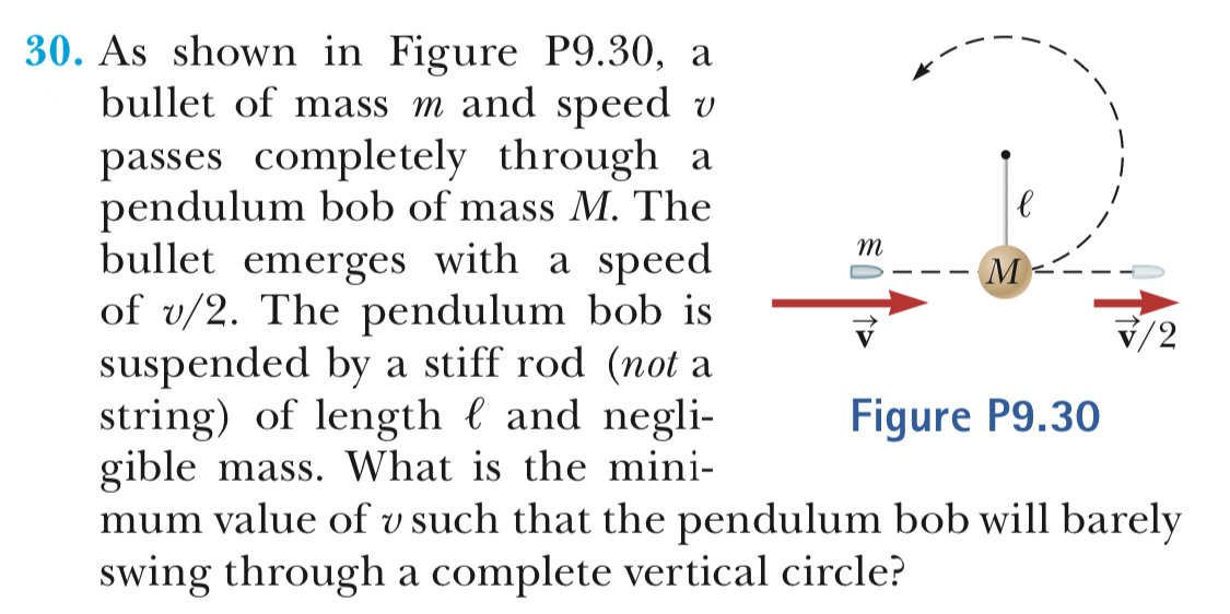 30. As shown in Figure P9.30, a bullet of mass m and speed v passes completely through a pendulum bob of mass M. The bullet emerges with a speed of v/2. The pendulum bob is suspended by a stiff rod (not a string) of length l and negli- giblemass. What is the mini- V/2 Figure P9.30 mum value of v such that the pendulum bob will barely swing through a complete vertical circle?