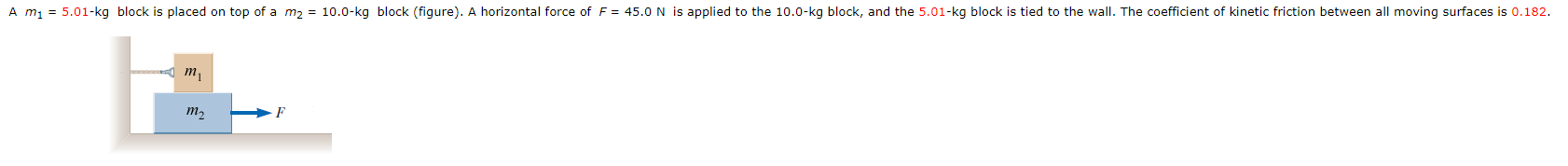 on top of a m2 - 10.0-kg block (figure). A horizontal forc e of F 45.0 N is applied to the 10.0-kg block, and t kg block, and the 5.01-kg block is tied to the A m1 wall I. The coefficient of kinetic friction between all moving surfaces is 0.182. m,
