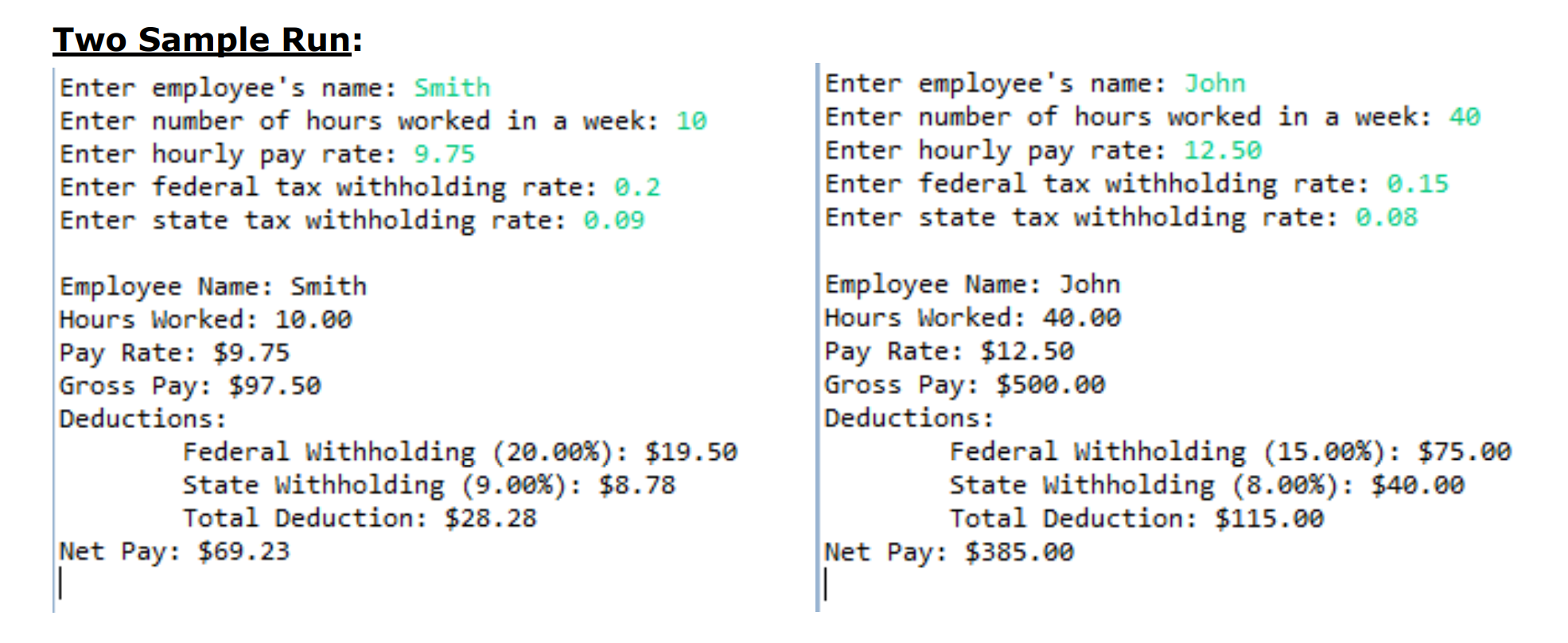 Two Sample Run: Enter emplovee's name: Smith Enter number of hours worked in a week: 10 Enter hourly pay rate: 9.75 Enter federal tax withholding rate: 0.2 Enter state tax withholding rate: 0.09 Enter employee's name: John Enter number of hours worked in a week: 40 Enter hourly pay rate: 12.50 Enter federal tax withholding rate: 0.15 Enter state tax withholding rate: 0.08 Employee Name: Smith Hours Worked 10.00 Pay Rate: $9.75 Gross Pay: $97.50 Deductions: Employee Name: John Hours Worked: 40.00 Pay Rate: $12.50 Gross Pay: $500.00 Deductions: Federal withholding (20.00%): $19.50 state withholding (9.00%): $8.78 Total Deduction: $28.28 Federal withholding (15.00%): $75.00 state withholding (8.00%); $48.00 Total Deduction: $115.00 Net Pay: $69.23 Net Pay: $385.00