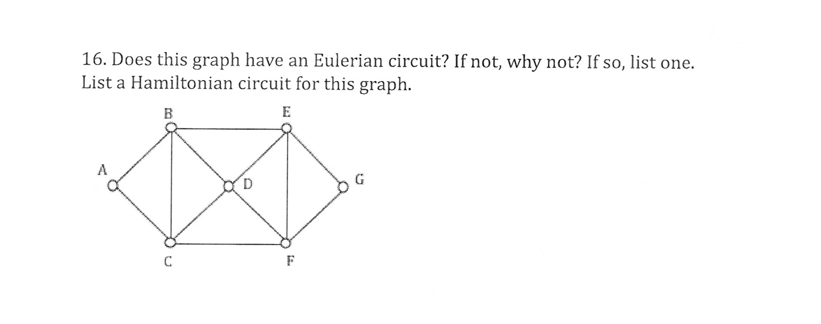 16. Does this graph have an Eulerian circuit? If not, why not? If so, list one. List a Hamiltonian circuit for this graph