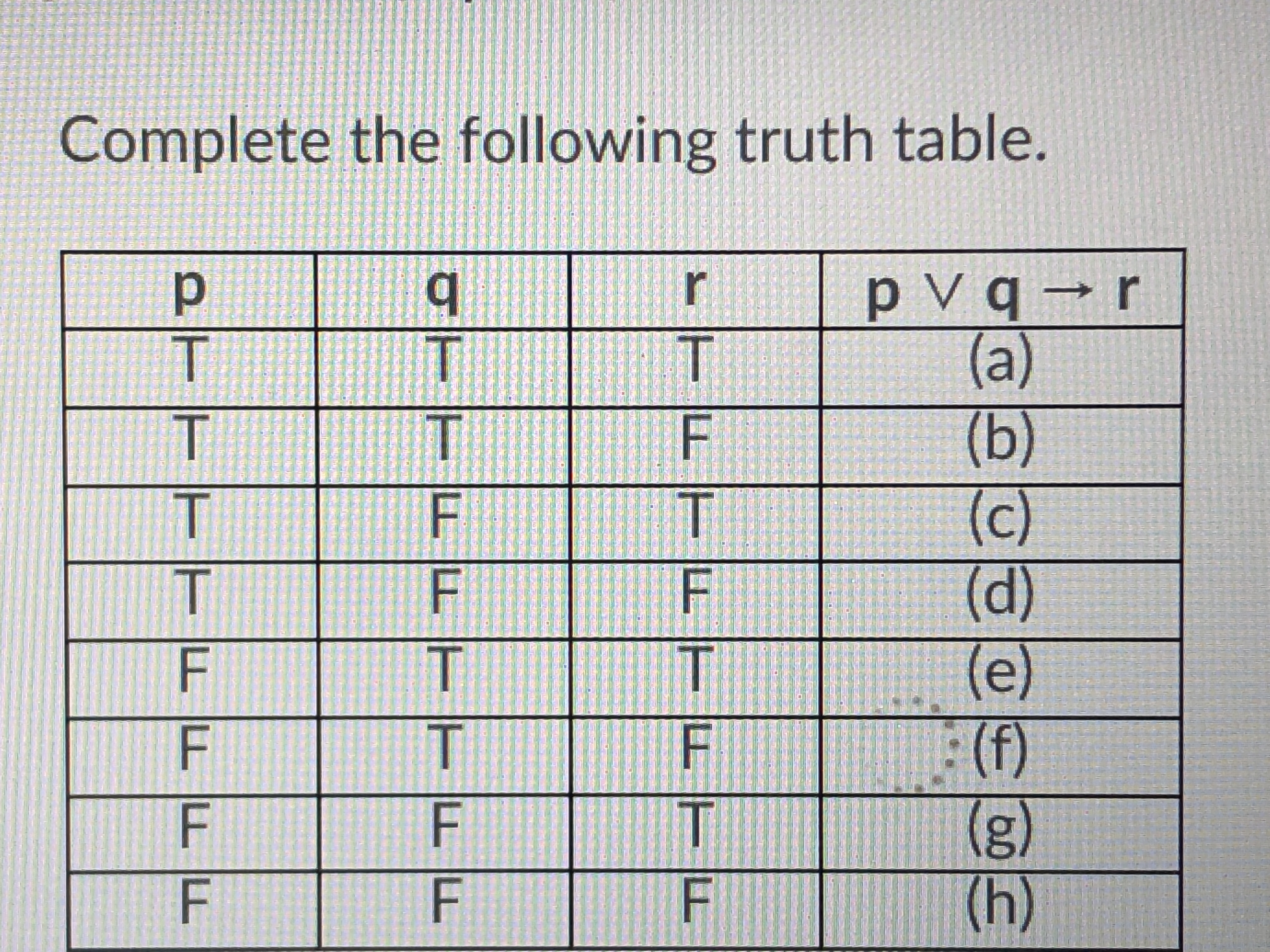 Complete the following truth table ㄒㄧㄧ --(g)