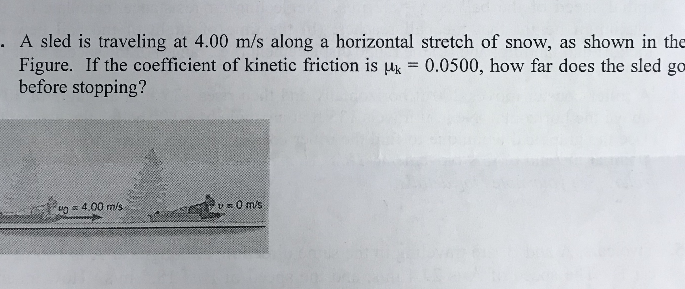 . A sled is traveling at 4.00 m/s along a horizontal stretch of snow, as shown in the Figure. If the coefficient of kinetic friction is μ,-0.0500, how far does the sled go before stopping? o4.00 m/s