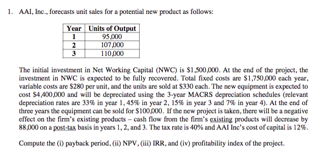 1. AAI, Inc., forecasts unit sales for a potential new product as follows: Year Units of Output 95,000 107,000 110,000 The initial investment in Net Working Capital (NWC) is $1,500,000. At the end of the project, the investment in NWC is expected to be fully recovered. Total fixed costs are $1,750,000 each year, variable costs are $280 per unit, and the units are sold at $330 each. The new equipment is expected to cost S4,400,000 and will be depreciated using the 3-year MACRS depreciation schedules (relevant depreciation rates are 33% in year 1, 45% in year 2, 15% in year 3 and 7% in year 4). At the end of three years the equipment can be sold for $100,000. If the new project is taken, there will be a negative effect on the firm's existing products - cash flow from the firm's existing products will decrease by 88,000 on a post-tax basis in years 1, 2, and 3. The tax rate s 40% and AAI Inc's cost ofcapital is 12% Compute the (i) payback period, (ii) NPV, (iii) IRR, and (iv) profitability index of the project.