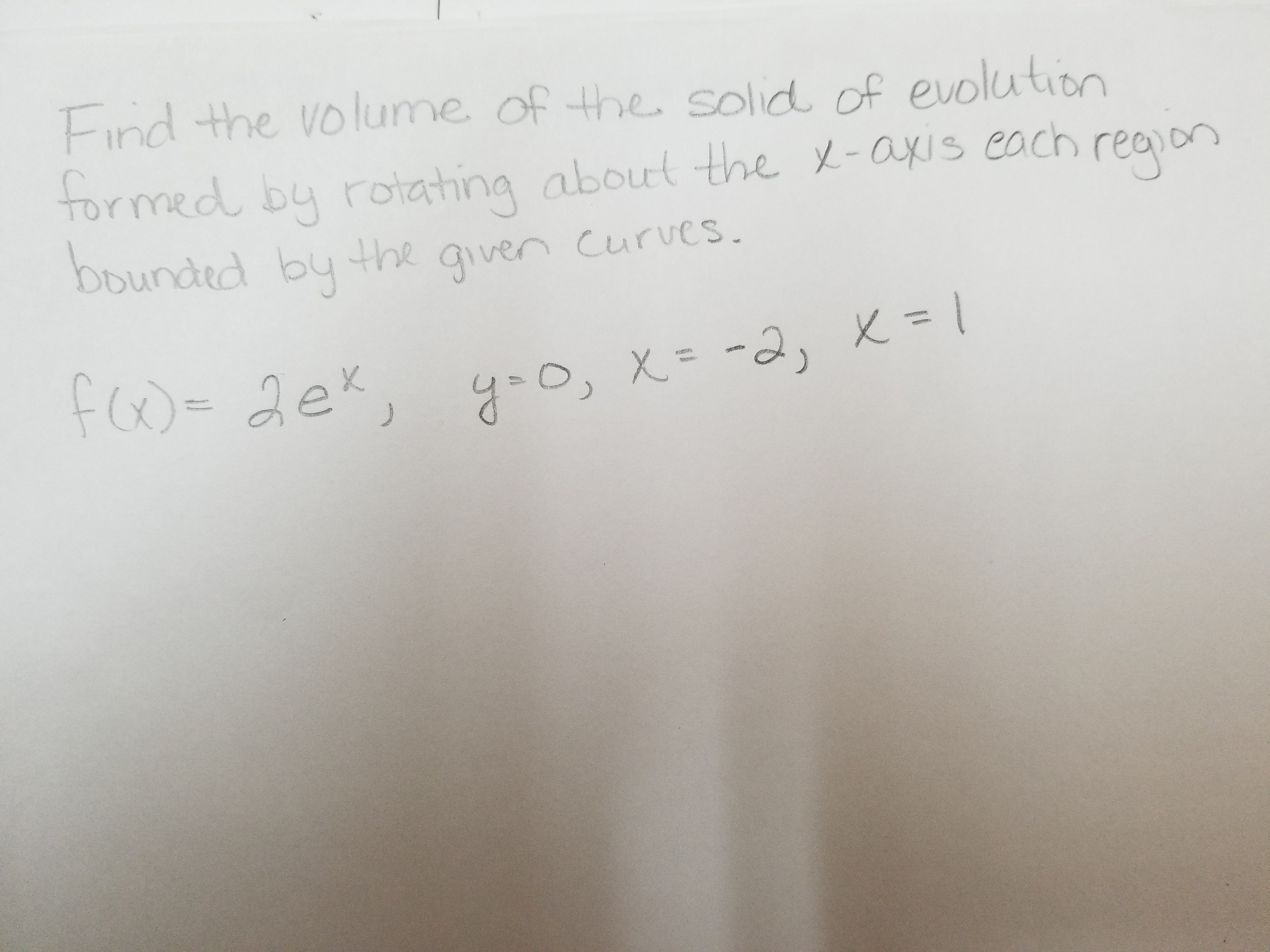 Find the volume of the solid of evolutiton formedl by roiating abourt the y-axis coch rea bunded bu the aven curves.