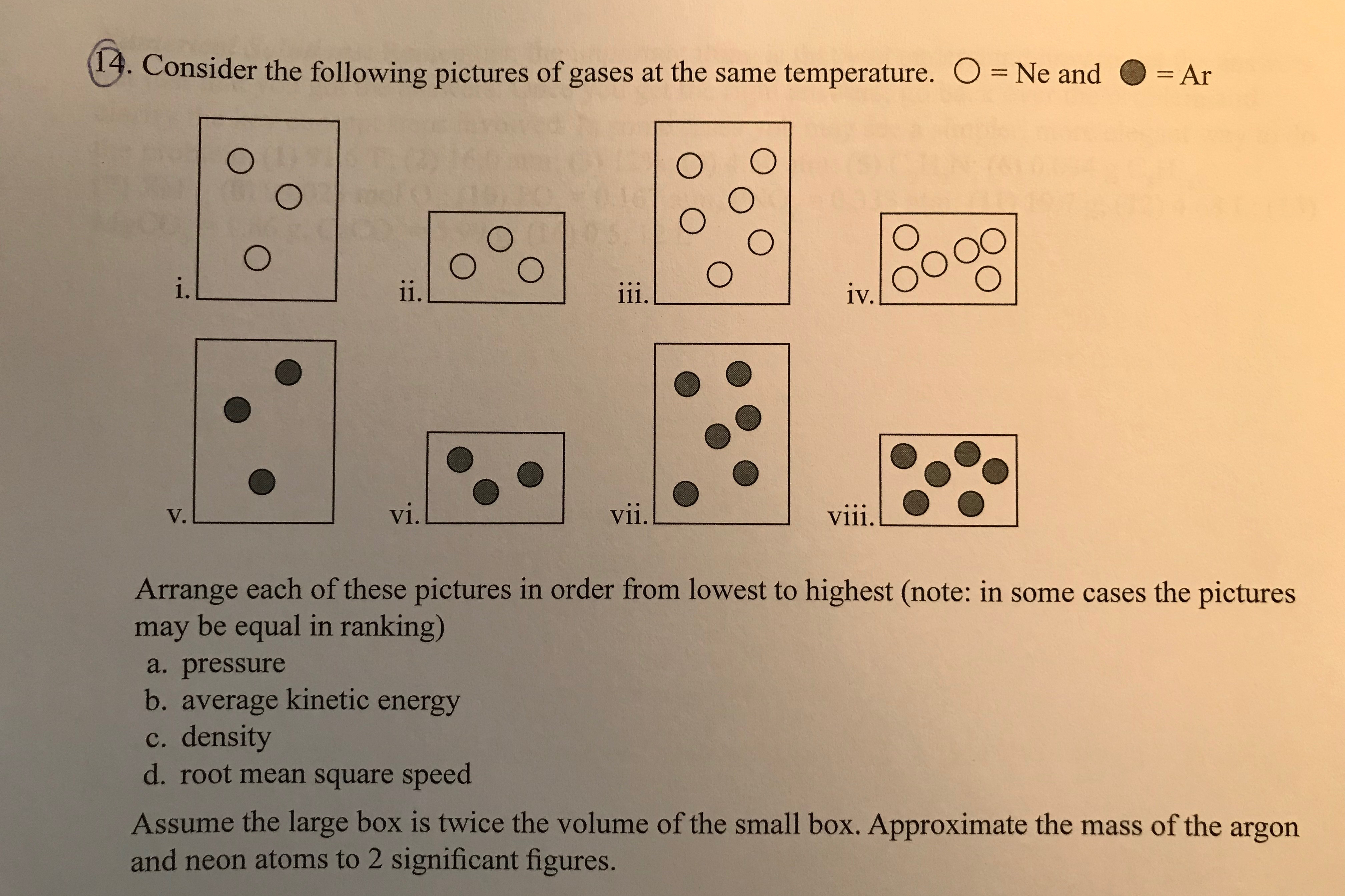 13. Consider the following pictures of gases at the same temperature. O Ne and -Ar = Ar . 1V. V. V1 vii. Arrange each of these pictures in order from lowest to highest (note: in some cases the pictures may be equal in ranking) a. pressure b. average kinetic energy c. density d. root mean square speed Assume the large box is twice the volume of the small box. Approximate the mass of the argon and neon atoms to 2 significant figures.