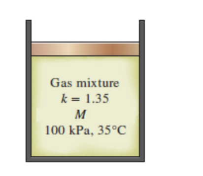 Gas mixture k 1.35 100 kPa, 35°C