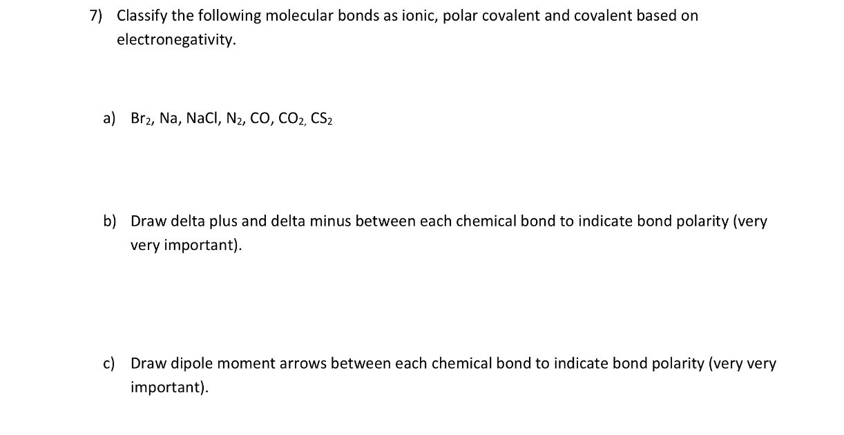 Answered 7 Classify The Following Molecular Bartleby