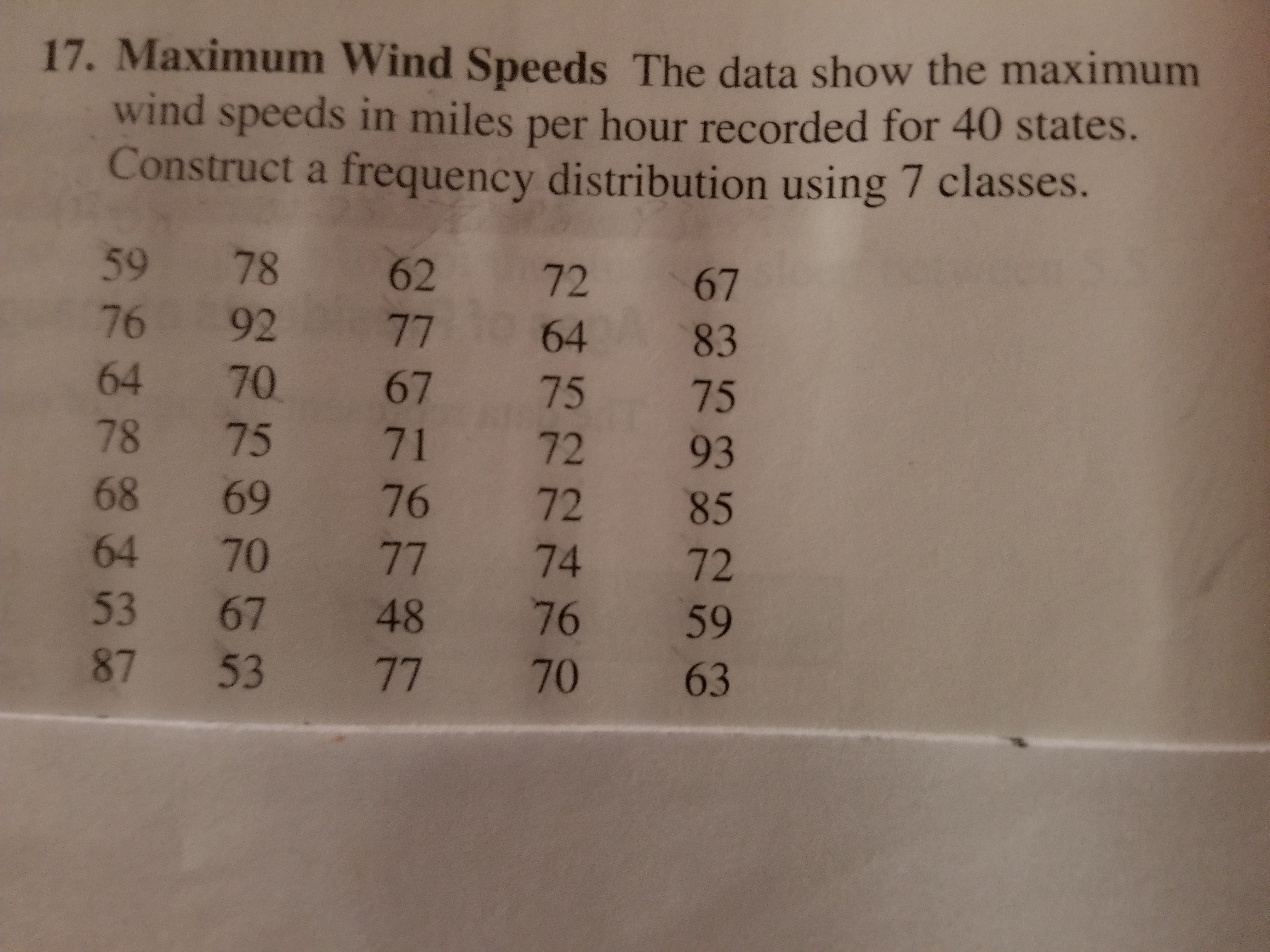 17. Maximum Wind Speeds The data show the maximum wind speeds in miles per hour recorded for 40 st Construct a frequency distribution using 7 classes. ates. 59 78 62 72 67 76 92 7764 83 64 70 67 75 75 78 75 71 72 93 68 69 76 72 85 64 70 77 74 72 53 67 48 76 59 87 53 77 70 63