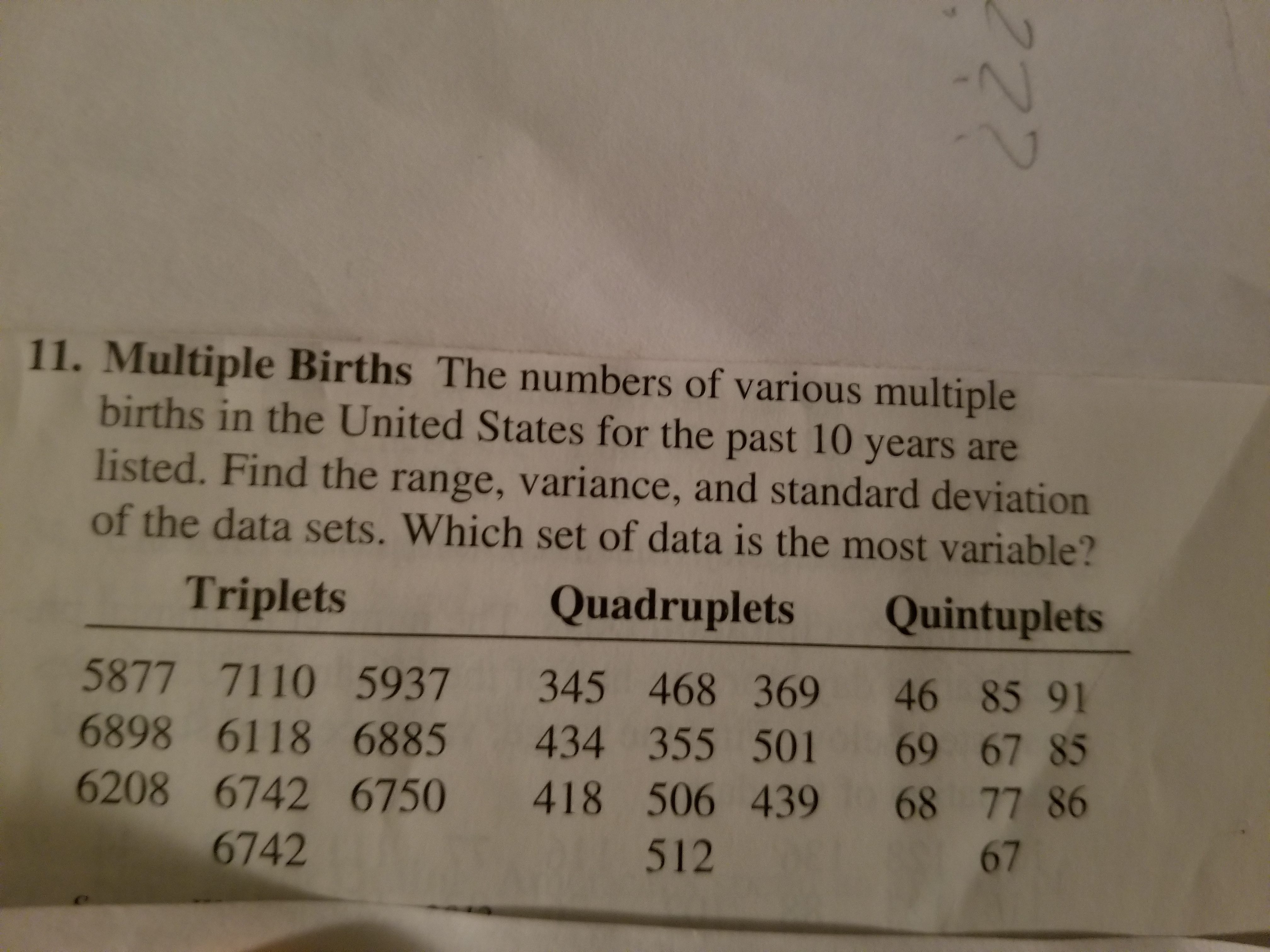 11. Multiple Births The numbers of various multiple births in the United States for the past 10 years are listed. Find the range, variance, and standard deviation of the data sets. Which set of data is the most variable? Triplets Quadruplets Quintuplets 5877 7110 5937 345 468 369 46 85 91 6898 6118 6885 434 355 501 69 67 85 6208 6742 6750 418 506 439 68 77 86 6742 512 67