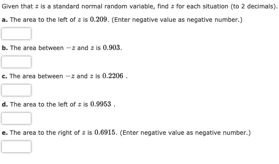 Given that z is a standard normal random variable, find z for each situation (to 2 decimals) a. The area to the left of z is 0.209. (Enter negative value as negative number.) b. The area between -z and z is 0.903 -z and z is 0.2206 c. The area between d. The area to the left of z is 0.9953 . e. The area to the right of z is 0.6915. (Enter negative value as negative number.)