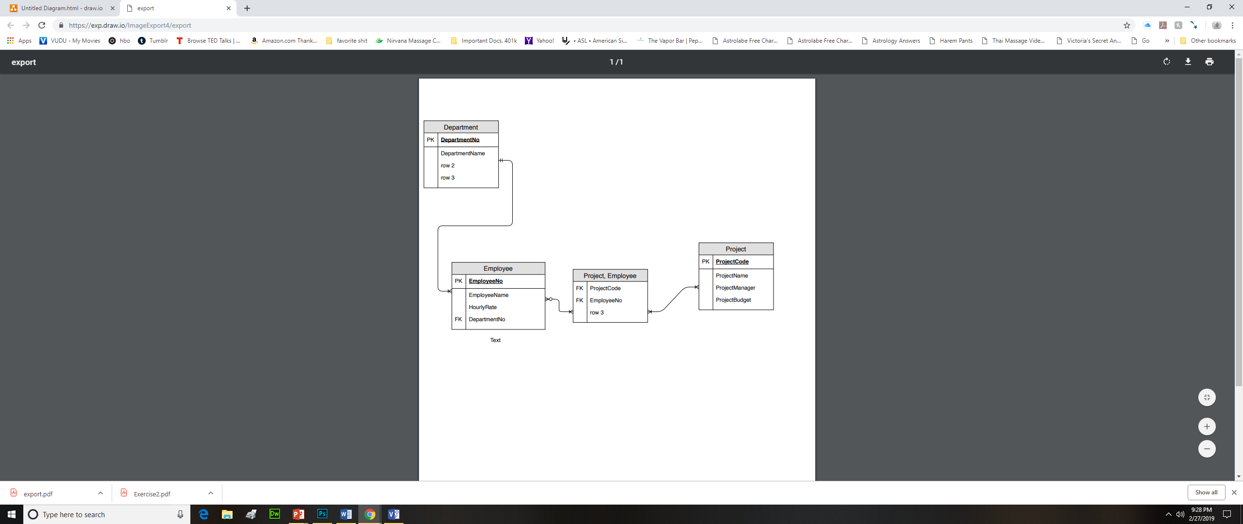 Untitiled Diagramhtml-draw.iox ← → https://exp.draw.io/ImageExport4/export export ps M VUDU My Mo es ๏ nbo O um bir T Browse TED Talks a Amazoncom Thank D favo te shit -Nirvana Massage C D Important Docs. 401k ASL . Am encan S. D D D Tha Massage Vide. D Victor 's Secret An D Other book narks rahoo! t The Vapor Bar Pep. Astrolabe Free Char. Astro abe F ee Char. Astrology Answers Harem Pants Go » export Department Project PK ProjectCode Employee Project, Employee FK ProjectCode FK EmployeeNo ow 3 FK DepartmentNo Text export pdf Exercise2.pdf Show allX 9:28 PM Type here to search 2/27/2019